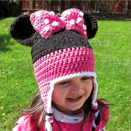 Wholesale Baby Crochet Minnie Mouse Hat - girls Minnie Mouse Caps Hats Kids Cap Girls Hats Wool Cap Baby Crochet Hats Children Caps Hand Knitted Caps Baby Hat