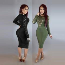 Wholesale Women S Slim Waist Dress - 2017 new European club sexy skirt ladies slim package hip waist bandage round neck long sleeved turtleneck dress