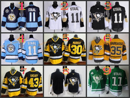 Wholesale Drop Stops - NHL Penguins #30 Murray 35 Barrasso 43 Sheary Blank 11 STAAL Blue Black Yellow White Hockey Jerseys Ice Jersey do Drop Shipping,Mix Order