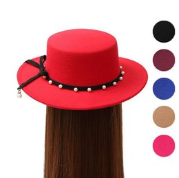 Wholesale Ms Spring - Good A++ Autumn and winter trend flat along the flat top hat Ms. personality pearl imitation wool felt hat ceremony cap EMB040