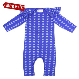 Argentina Venta al por mayor Meney's 2017 Baby Girls Rompers azul mangas largas New Born Clothes Dots Little Hearts 100% algodón infantil Body para recién nacidos Suministro