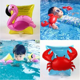 Wholesale Wholesale Crab Rings - Swan Baby Swim Ring Children Summer Crab Flamingo Swimming Rings Kids Beach Laps Pool Toys Gifts Hot Sale Free DHL 85