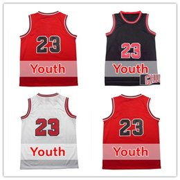 Wholesale Boys Shirts Sale - 23 Kids Jersey Hot Sale 23 Youth Basketball Jerseys Good Quality Boys Shirts Red White Black Embroidery Logos Size S-XL Accept Mix orders