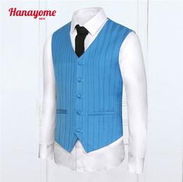 Wholesale Mens Brown V Neck Vest - Wholesale- Fashion Men Vest Pinstriped High Quality Mens Casual Suit V-necked Slim Fit Vests Plus size XXL Patchwork Design Brown