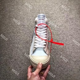 Wholesale Casual Blazer Mens - Top Quality 10X OFF WHITE BLAZER Studio Shoes 10X Mens Women Blazers MID AA3832-100 Casual Shoes With Zip Tie Red Tag Size US7-12