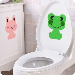 Wholesale rabbit plane - fashion Creative cute Animal bathroom toilet stickers frog rabbit bear Removable Decorating Deodorant Thick Sticker Decor 2017 Wholesale