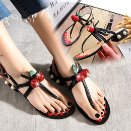 Wholesale Ladies Cherry - 2017 New Fashion Women Lady Flat Heels Cherry Diamond Sandals Girl Slippers Flat Shoes Black Red gold Size 34-40