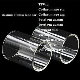 Wholesale Glass Petri - TFV12 Coilart mage RTA GTA Petri 22mm 24mm Serpent sub Vicino Combo RDTA Vengeance 528 GOON Replacement Pyrex Glass Tube for Smok Wismec