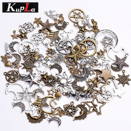 Wholesale Pentagram Charms - Kupla Vintage Metal Mixed Star Moon Charms Fashion Retro Pentagram Pendant Diy Handmade Charms for Jewelry Making 100pcs lot