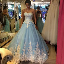 Wholesale Colorful Garden Lights - White and Light Blue Wedding Dresses Ball Gown Sweetheart Lace Tulle 2017 Stunning Colorful Bridal Gowns Custom Size