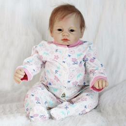 """2019 boneca de borracha rosa Realista Recém-nascido 22 """"55 cm Artesanal Realista Bebê Recém-nascido Boneca Reborn Silicone Macio Cabelo de Vinil Enraizado Presente para Bonecas"""