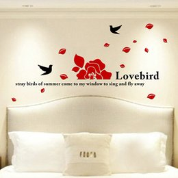 Wholesale Romantic Sticker Design - Bird Wall Stickers Romantic Wall Decals 3D Removable Walls Decal Modern Style Design Decorative Wall Stickers For Home Bedroom Decor