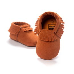 Wholesale Leather Tassels Wholesale - 13 Color Baby moccasins soft sole 100% genuine leather first walker shoes baby leather newborn shoes Tassels moccasin