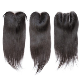 Wholesale Naturals Knot - Straight Lace Closure Bleached Knots Brazilian Straight Human Hair Closure Free Middle 3 Part 100% Human Hair