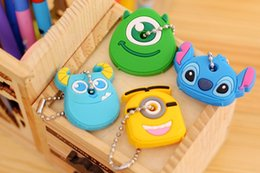 Wholesale Cute Girl China - Cute Anime Cartoon Silicone Stitch Minion Key Cover For Women Key Caps Keychain Key Holder Gift 8pcs Free china post