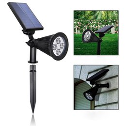 Wholesale Abs Spotlight - Wholesale- 2 pcs Lawn Lamp (ABS+PC Material) 4 LED Energy Saving Solar Spotlight 200 Lumens Outdoor Courtyard Balcony Walls Include Battery