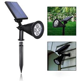 Wholesale Pc Spotlight - Wholesale- 2 pcs Lawn Lamp (ABS+PC Material) 4 LED Energy Saving Solar Spotlight 200 Lumens Outdoor Courtyard Balcony Walls Include Battery