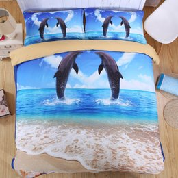 Wholesale Unique Comforters - 3D Ocean Bedding Set Single Queen King Size Bed Sheet Bedlinen Cool Unique Dolphin Animal Series Fall Winter Thickness Cotton