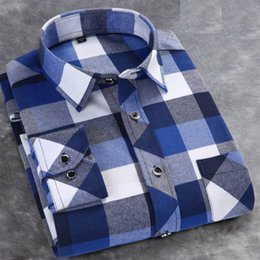 Wholesale Mens Dress Shirts Blue - Autumn And Winter Explosion Mens Thick flannel sanding Check Pattern Shirt More Colors