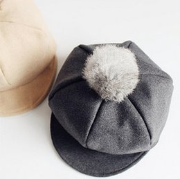 Wholesale Baby Boy Beret Hats - Baby Hat Kids Cap Fashion Boys Girls fleece pompon Berets Children Caps 2017 autumn winter Kid Wool Cap Kids Hats Child ball caps T5093