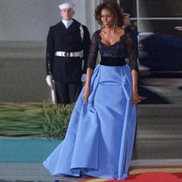 Wholesale Michelle Obama - 2016 Michelle Obama red carpet celebrity dress lace black half sleeve evening gowns women wear custom made formal Prom dress
