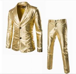 Wholesale Mens Suit Pcs - 2 Pcs Mens Gold Bling Suits Blazer Bar Coat Jacket Tops&Pant Set Trousers Dress Formal Sliver Black Plus Size New Glitter 3Colors