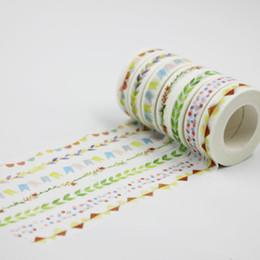 Wholesale Color Masking Tape - Wholesale- 2016 7PCS new colored flower washi tape colorful lace floral washi tape paper cartoon masking tapes color patterned tape decora