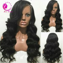 Wholesale New Look Wigs - 2017 New Arrival Virgin Brazilian Glueless 150 Density Human Hair Full Lace Wigs with Natural Looking Loose Wave Lace Front Wig For Blacks