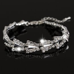 Wholesale Silver Jewellry Sets - 2017 New hot sell gold   silver plated Austrian crystal brand jewelry the rivet rhinestone bracelet women Jewellry