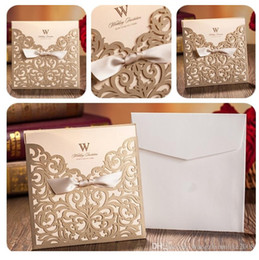 Wholesale Wedding Card Designs Free - Gold wedding invitations custom invitations romantic personality wedding invitation wedding cards designs via DHL free shipping in low price