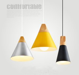 Wholesale Nordic Minimalist - Newest Nordic Minimalist Pendant Lights Simple Living Room Lightings Wood & Aluminum Chandelier Loft Pendant Lamps Dia 14cm 22cm 25cm