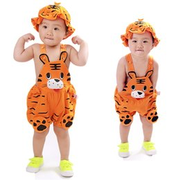 Wholesale Toodler Hats Wholesale - 4 sets  1 lot 2017 Summer Baby Boy Girls Romper Cotton Cute Romper Sleeveless Coverall Infant Toodler Jumpsuit With Hat 2 Piece SET
