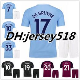 Wholesale Man City Football Kit - 17 18 KUN AGUERO man City soccer Jersey kits 2017 2018 DZEKO KOMPANY TOURE YAYA DE BRUYNE Bernardo Sane G.Jesus Silva football Shirt