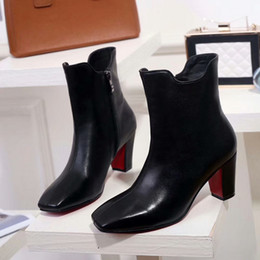 Wholesale Roman Leather - Hot Fashion Design Women Red Bottom Ankle Boots Square Toe Chunky Heel Black Genuine Leather Knight Boots 10CM Ladies Winter Boots SZ:35-41