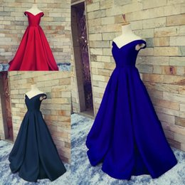 Wholesale Satin Bow Corset - Modest Royal Blue Evening Dresses V Neck Off The Shoulder Ruched Satin Party Gowns Backless Formal Corset Prom Dressess Real Image
