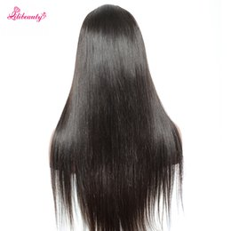 Wholesale Large Cap Remy Wigs - Lili Beauty Lace Front Human Hair Wigs 130%-300% Density Straight 100% Remy Hair Natural Black Color Medium Cap Size