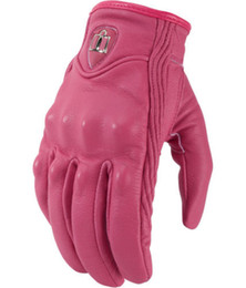 Wholesale Motorbike Glove S - New 2016 Real Leather Full Finger women Motorcycle Gloves Motorbike Protective Gears Moto Street Racing Glove Pink