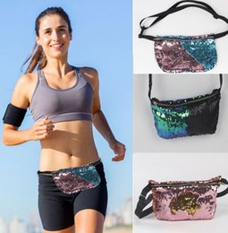 Wholesale Running Bum Bag - Double Sequins Bag Shoulder Sequins Belt Bum Bag mermaid Pouch Purse Outdoor Sports Jogging Running Waist Bag Backpacks KKA1284