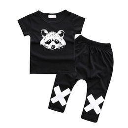 Wholesale raccoon clothing - Raccoon Baby Boy T-Shirt+Pant Clothes Suits Summer Short Sleeve Tees Shirt Cotton Trouser Children Sport Suit Fashion tracksuit