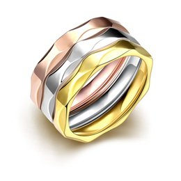 Wholesale Mixed Nuts - Multilayers 18K&Rose&White Gold Plated Three Color Ring 316L Stainless Steel Unique Cool Nut Design Ring for Lovers Women Men Party Jewelry