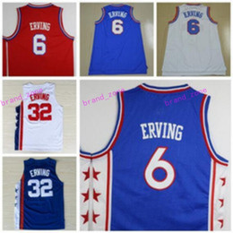 Wholesale Blue Dr - Hottest Throwback 32 Dr J Julius Erving Jerseys Uniforms For Sport Fans All Star 6 Julius Erving Shirt Sports Breathable Home Blue Red White