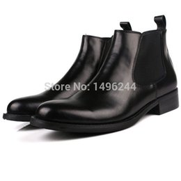 Wholesale Style Leather Mens Boot - Wholesale- new Italian Style genuine top cowhide leather boots qshoes mens brand design business dress casual men Personalized boot y18-771