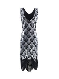 Wholesale Plus Sized Vintage Clothing - 2017 New Sequined dresses for womens clothes 1920s Style plus size V-Neck Sleeveless Flapper Dress Party Club Wear