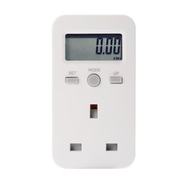 Wholesale Plug Power Monitor - LCD Digital Plug-in Power Meter Energy Monitor Electricity Usage Monitoring Analyzer Socket UK Plug BI680-SZ