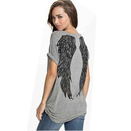 Wholesale Belle Sleeves - Wholesale-2016 Miss Belle Back Angel Wings Printed Women's T shirt Short Sleeve O Neck Tops & tees T-shirt Women Tops FX20