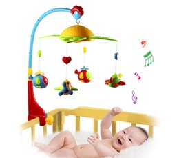 Wholesale Hanging Star Lights Christmas - 360 Degrees Rotating Baby Rattles Baby Musical Star Projector Hanging Bell Crib Rattle Toy Music Light Flash Bed Ring Rattle Toy Music +NB