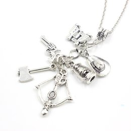 Wholesale Telescope Charms - The Walking Dead necklace vintage Zombie hat telescope bow and arrow gun axe water bottle pendant for men and women wholesale 161004