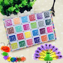 Wholesale Fingerprint Ink - Wholesale- 24 Color Multi-Color Ink Pads Children Fingerprint Picture Finger Painting Stamp Pads Pigment Kids Craft DIY Toys LS