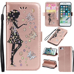 Wholesale Purple Butterfly Iphone Cases - Luxury With Bling Bling Girl Butterfly Wallet Card Slot Holder PU Leather Phone Case For Iphone 7plus 6s 6 plus 5S Samsung S8