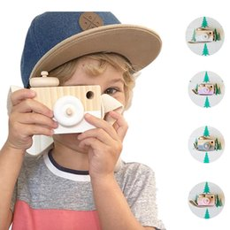 Wholesale Educational Toys For Toddlers - Mini Wooden Camera Toy Hanging on Neck Anti-Static and Natural Wood for Kids Baby Toddler Room Decoration